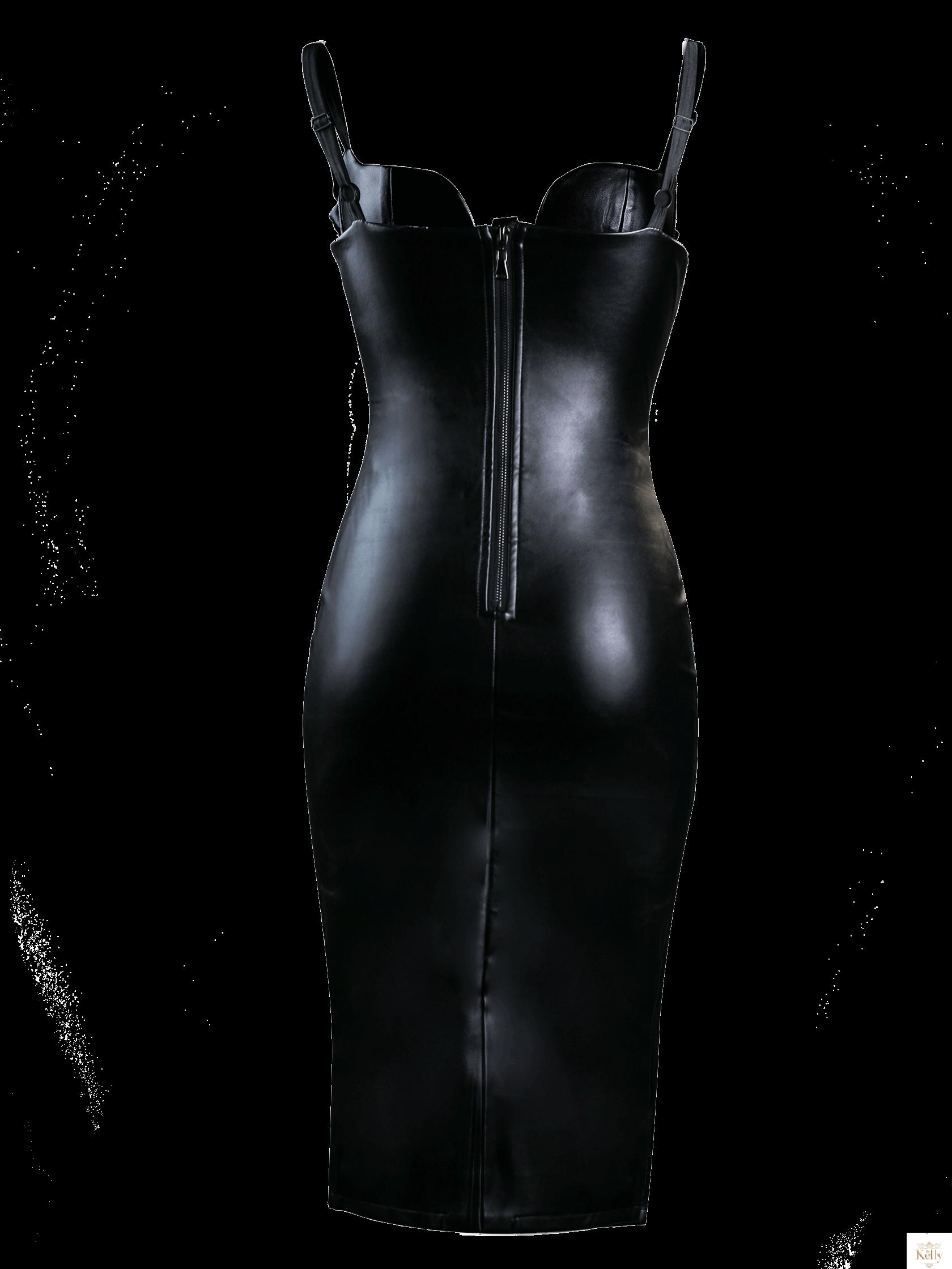 ed1620d2d2ab2a Sukienka czarna skórzana Felix | Sklep internetowy Kelly.com.pl